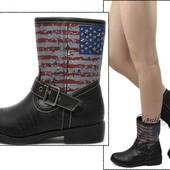 Женские летние весенние ботинки молодежные с американскими флагом
