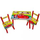 Детский столик с двумя стульчиками Тачки. от 2-лет, для мальчика