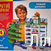 Детский игровой гараж 922 (6 уровней парковки, 4 машинки),новый