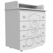 Комод-пеленатор Верес (25.1.06), белый медвежонок (дсп+мдф)