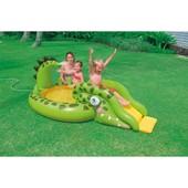 """Детский водный игровой центр с горкой """"Крокодил"""" Intex: 251х140х86см"""