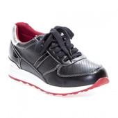 Черные кроссовки на платформе с перфорацией.Кож+лак.Скидки