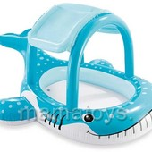Бассейн детский надувной Большой кит. С навесом Интекс 57125. 211x185x109 см.