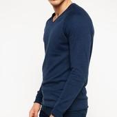 синий мужской свитер De Facto с V-образной горловиной