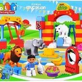 Конструктор 5093 детский Зоопарк JDlT , крупные детали, аналог Лего