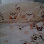 Бортики (35 см) со съёмными чехлами (на молнии) на все стороны детской кровати.Совушки