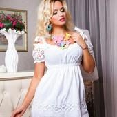 Летнее нарядное платье из прошвы хлопок 100  S, M, L, XL 3 цвета.