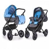 Универсальная коляска 2 в 1 Adamex York 506G, сине-голубой в ромбик