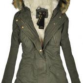 Женская зимняя куртка парка ,цвет хаки