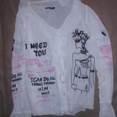 Рубашка блуза белая с принтом Турция! р S/M