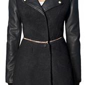 Женское демисезонное шерстяное пальто с рукавами из эко-кожи
