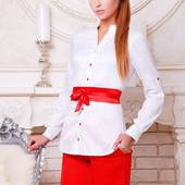Женская белая блузка воротник стойка с атласным поясом Киола