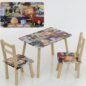 Столик и два стульчика деревянные фиксики