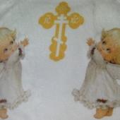 Детский махровый мягкий плед крыжма Ангелы