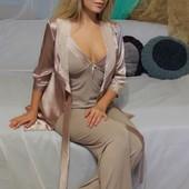 Пижама тройка(брюки,майка,халат) Меган ткань-атлас рр. европ.36-48 и наш 42-54
