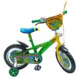 Велосипед 2-х колесный 12'' 141203 со звонком, зеркалом, с вставками в колесах