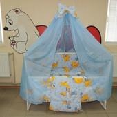 Gold 9 в 1 Детское постельное белье в кроватку голубое Мишки горох