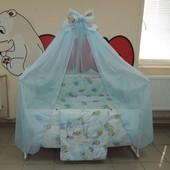 Gold 9 в 1 Детское постельное белье в кроватку голубое Мишки клетка