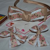 Шикарный набор аксессуаров обруч и  заколки уточки для нарядной нежной девочки