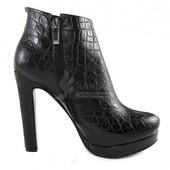 Ботильоны женские черные на широком каблуке «Эльмира» размер 39