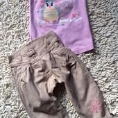 Комплект из футболочки и легких  льняных бриджей с матней Металан на 2-3 года