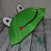Зонтик зонт трость детский с ушками со свистком разные Лягушка Жабка