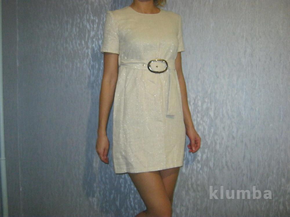 Крутое трендовое платье с люрексом р 42 хс-с фото №1