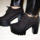 Туфли женские черные тракторная подошва Т464