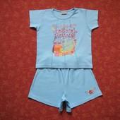Хлопковый набор футболка и шорты на 4-5 лет, б/у. Есть пятна. Шорты длина 27 см, шаговый 8 см, ПО та