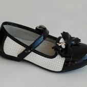 Туфли для девочек KLF черно-белые