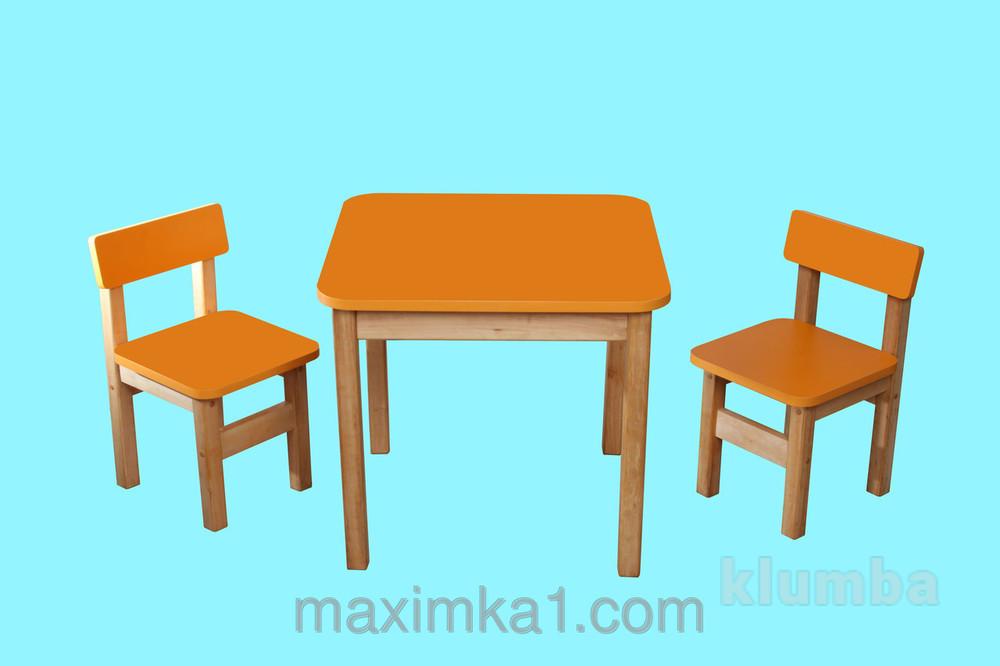 Эко набор стол деревянный оранжевый и 2 стульчика фото №1