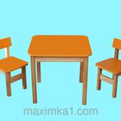 Эко набор Стол деревянный оранжевый и 2 стульчика