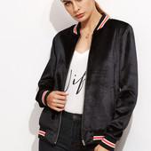 Чёрная велюровая куртка-бомбер