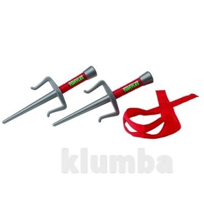 Набор игрушечного оружия серии черепашки-ниндзя - боевое снаряжение рафаэль (2 кинжала-сай, бандана) фото №1