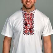 Мужская футболка-вышыванка,цвет белый