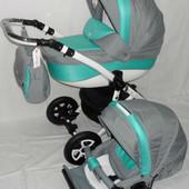 Универсальная коляска Adamex Barletta PIK20, серый/бирюзовый строчка