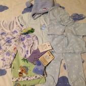Пакет вещей на мальчика (0-6мес) 12 предметов, (Бодик, носки и майка+тр новые,костюм на 3-6м, шапочк