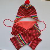 Шапка и шарф на флисе от 6мес до 2лет