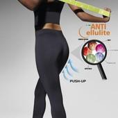 Черные спортивные эластичные плотные леггинсы штаны высокий пояс Riley 300Ден антицеллюлитный эффект