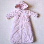 Теплый комбинезон-конверт для новорожденной девочки