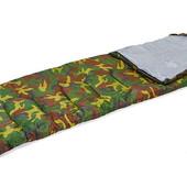 Спальный мешок одеяло с капюшоном 4051 (спальник камуфляж): 177+30х75см, от +15 до -5