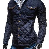 Стильная мужская демисезонная стеганная куртка с латками
