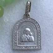 Ладанка серебряная с камнями 3378 белая
