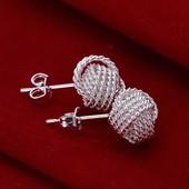Сережки Серебряное плетение