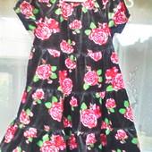 Эффектное велюровое платье для девочки 5 -6 лет ( 110 -116)