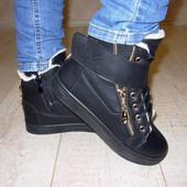Ботинки зимние черные.Наличие.