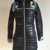 Женский стильный пуховик с принтом. Длинная женская зимняя куртка. Акция
