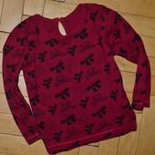 2 - 3 года 92 - 98 см Фирменная кофточка реглан для девочки в бантик бордо