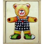 Деревянная рамка вкладыш, одевайка одень мишку (мишек) 0320