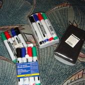Маркеры для магнитных досок мольбертов набор 4 цвета мочалка Buromax